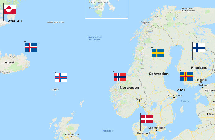 Nordics Map with Flags